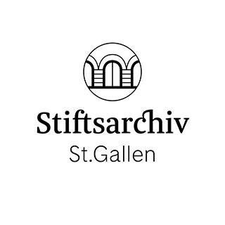 Logo des Stiftsarchivs St. Gallen. Über dem Text ist ein Kreis mit drei Toren.