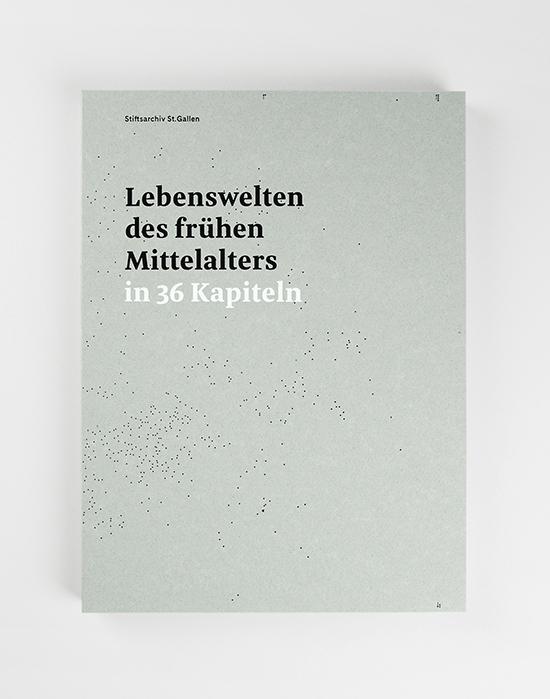"""Cover der Publikation """"Lebenswelten des frühen Mittelalters in 36 Kapiteln"""". Es ist pastellgrün mit schwarzen Punkten."""